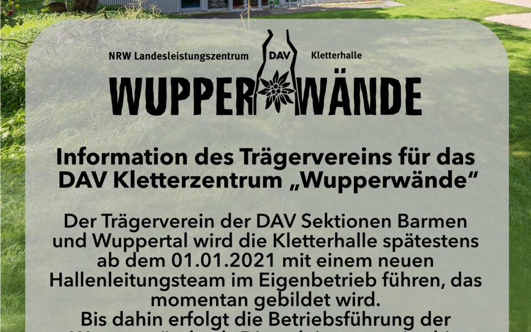 """Informationen des Trägervereins für das DAV Kletterzentrum """"Wupperwände"""""""