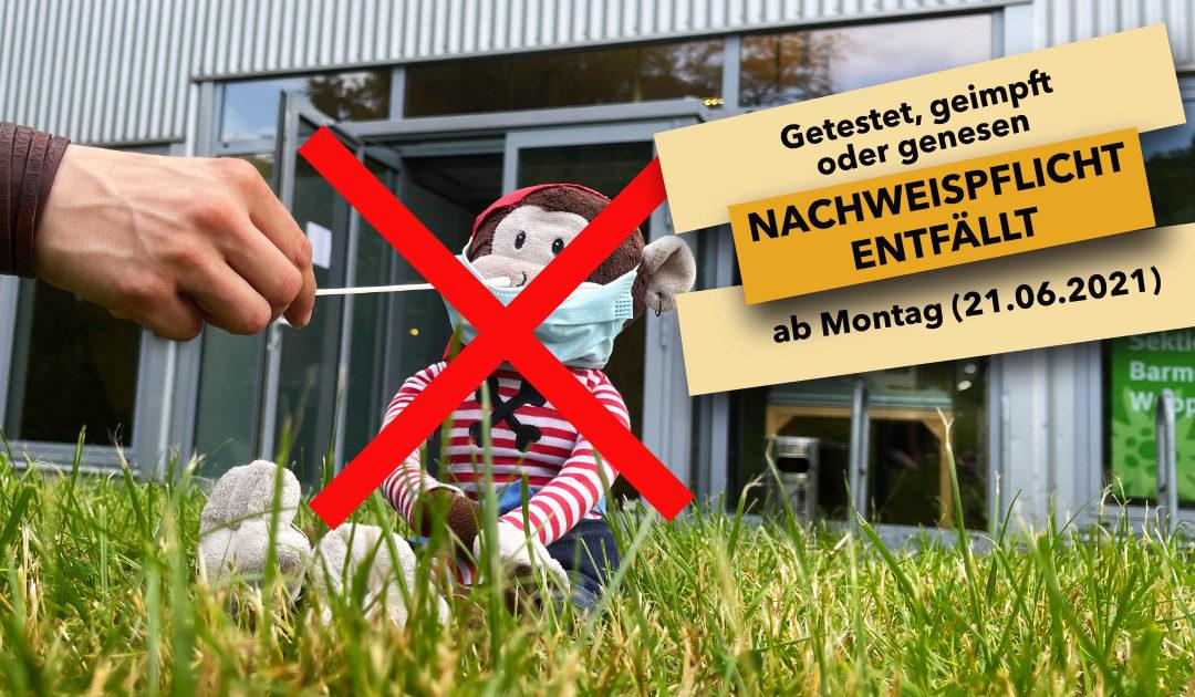 AB MONTAG 21.6.2021 ENTFÄLLT DIE TEST-/NACHWEISPFLICHT